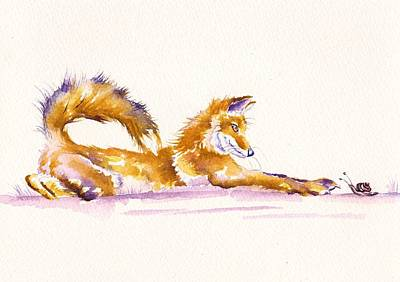 Red Fox Painting - The Curious Fox by Debra Hall