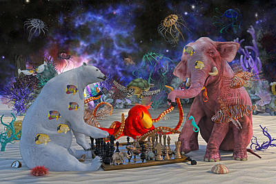 Octopus Digital Art - The Curious Game by Betsy Knapp