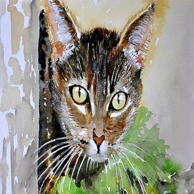 Painting - The Curious Tabby Cat by Tracey Harrington-Simpson
