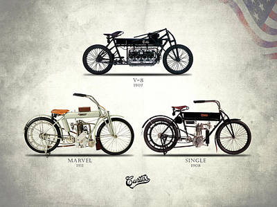Photograph - The Curtiss Motorcycle Collection by Mark Rogan