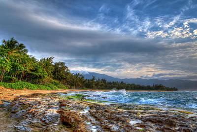 Photograph - The Curve Too Papa'iloa Beach North Shore Lava Rocks Oahu Hawaii Collection Art by Reid Callaway