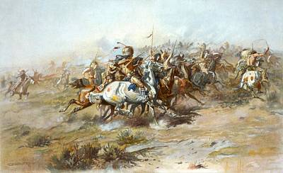 Indian Chief Digital Art - The Custer Fight by Charles Russell