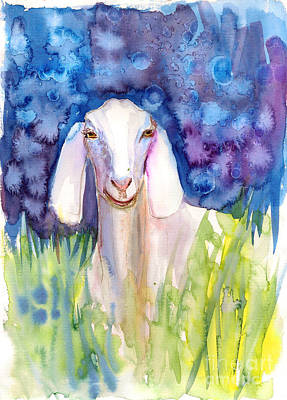Painting - The Cute Goat by Asha Sudhaker Shenoy