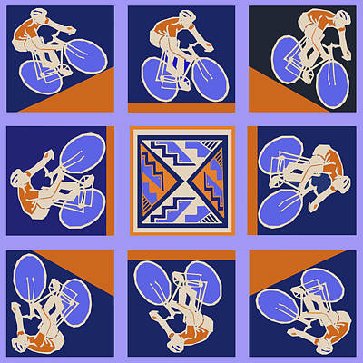 Digital Art - The Cyclist Race by Vagabond Folk Art - Virginia Vivier