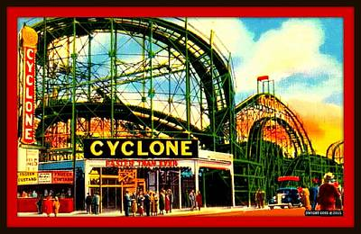 Roller Coaster Mixed Media - The Cyclone Roller Coaster, Coney Island, 1939 by Dwight GOSS