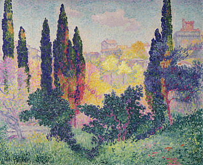 The Dot Painting - The Cypresses At Cagnes by Henri-Edmond Cross