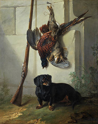 Carcass Painting - The Dachshound Pehr With Dead Game And Rifle by Jean-Baptiste Oudry
