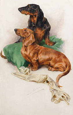 Sniffing Painting - The Dachshunds by Arthur Wardle RI
