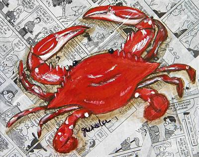 Blue Crab Mixed Media - The Daily Crab by JoAnn Wheeler