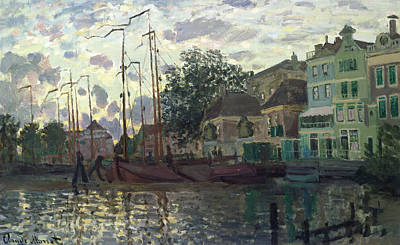 Sailboat Painting - The Dam At Zaandam by Claude Monet