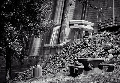 Photograph - The Dam Picnic Table In Black And White by Greg Mimbs