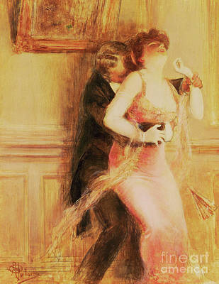 Flirt Painting - The Dance by Albert Guillaume