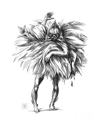 Drawing - The Dance Macabre by Yvonne Wright
