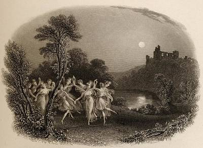 Black And White Fairy Drawing - The Dance Of The Fairies. Engraved By by Vintage Design Pics