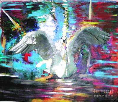 Painting - The Dance Of The Swan by Marie-Line Vasseur