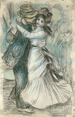 Holding Hand Drawing - The Dance by Pierre Auguste Renoir
