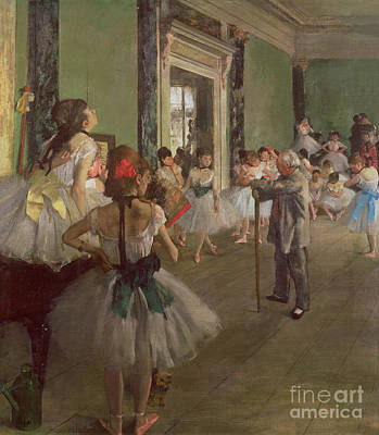 Fan Painting - The Dancing Class by Edgar Degas