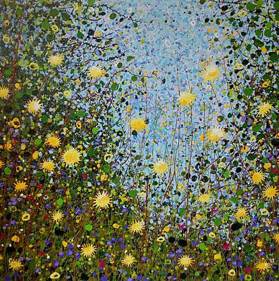 Drips Painting - The Dandelion Patch by Angie Wright