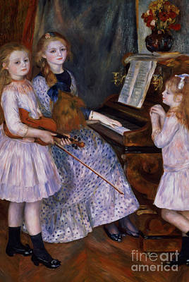 Interior Scene Painting - The Daughters Of Catulle Mendes At The Piano, 1888 by Pierre Auguste Renoir
