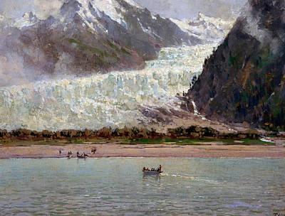 Glacier Alaska Painting - The Davidson Glacier by Thomas Hill