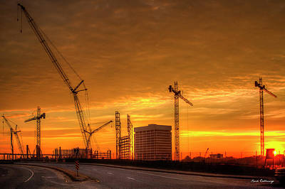 Photograph - The Dawn Of Cranes Suntrust Stadium Dawn Atlanta Braves Baseball Construction Art by Reid Callaway