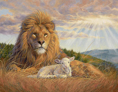Lion And The Lamb Painting - The Dawning Of A New Day by Lucie Bilodeau