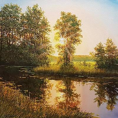 Wall Art - Painting - The Day Ends by Oleg Riabchuk