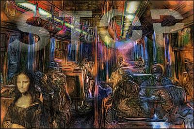 Modernity Digital Art - The Day I Saw Mona Lisa In The Metro by Daniel Arrhakis