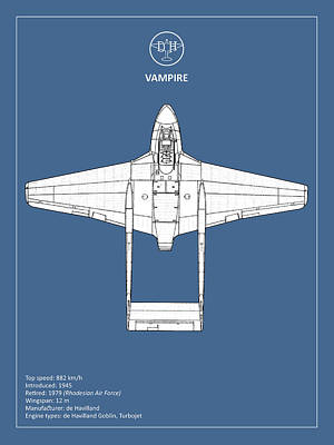 Vampire Photograph - The De Havilland Vampire by Mark Rogan