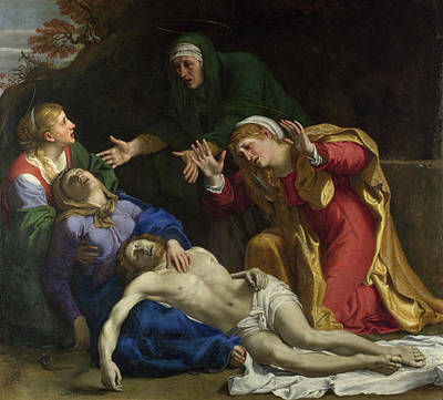 Wept Painting - The Dead Christ Mourned, The Three Maries by Annibale Carracci