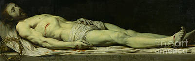 Shrouded Painting - The Dead Christ On His Shroud by Philippe de Champaigne