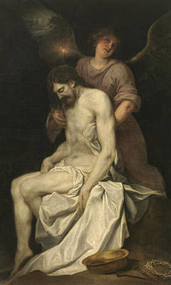 Angel Art Painting - The Dead Christ Supported By An Angel by Alonzo Cano