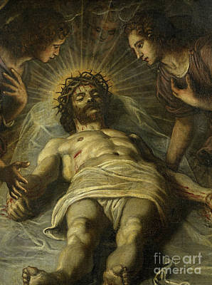 Wound Painting - The Dead Christ With Two Angels by Jacopo Robusti Tintoretto