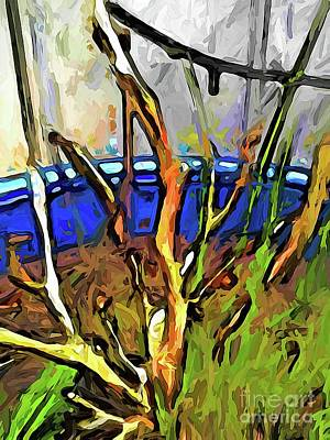 Digital Art - The Dead Geranium In The Blue Pot by Jackie VanO