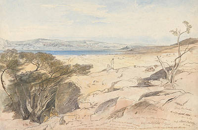 Drawing - The Dead Sea, 16 And 17 April 1858 by Edward Lear