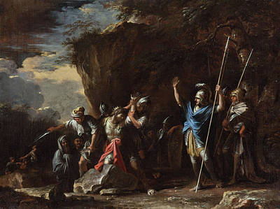 Rosa Painting - The Deaf-mute Son Of King Croesus Prevents The Persians From Killing His Father by Salvator Rosa
