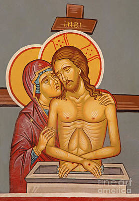 The Death Christ With The Holy Mary Fresco - Icon Art Print by Jozef Sedmak
