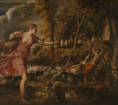 Greek School Of Art Painting - The Death Of Actaeon by Titian