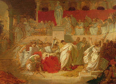 Senate Painting - The Death Of Caesar  by Vincenzo Camuccini