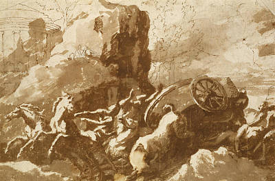 Drawing - The Death Of Hippolytus by Nicolas Poussin