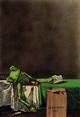 Amphibians Mixed Media - The Death Of La Grenouille by Bizarre Bunny