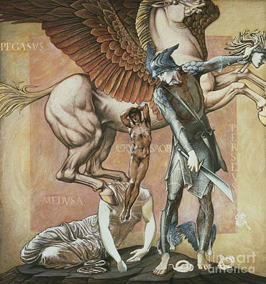 Pegasus Painting - The Death Of Medusa I by Edward Coley Burne-Jones