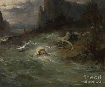 Flying Seagull Painting - The Death Of Orpheus by Henri Leopold Levy