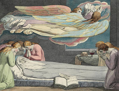 Grave Drawing - The Death Of The Good Old Man by Sir William Blake