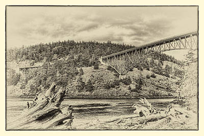 Sepia Photograph - The Deception Pass Bridge In The Puget Sound by David Patterson