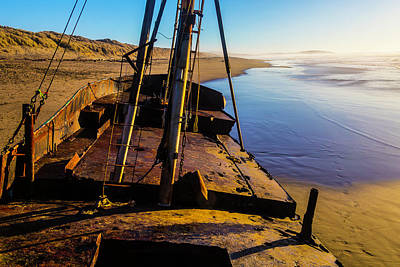 The Deck Of An Abandoned Boat Art Print