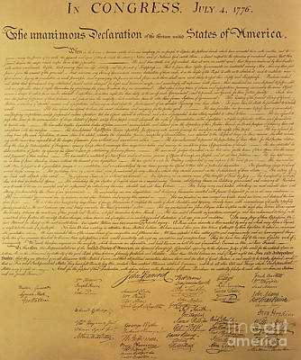 Engraving Painting - The Declaration Of Independence by Founding Fathers