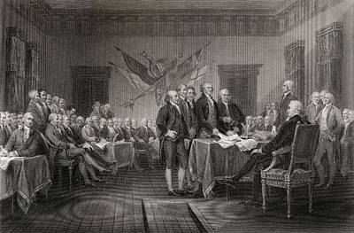 Thomas Jefferson Drawing - The Declaration Of Independence July by Vintage Design Pics