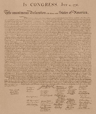 Us Mixed Media - The Declaration Of Independence by War Is Hell Store
