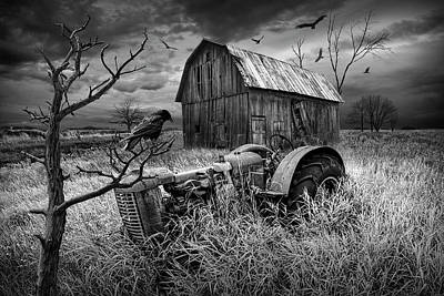 Art Print featuring the photograph The Decline And Death Of The Small Farm In Black And White by Randall Nyhof